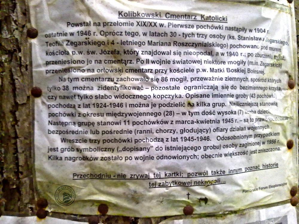 Gdynia Orłowo Stary Cmentarz Katolicki na Kolibkach Nota historyczna